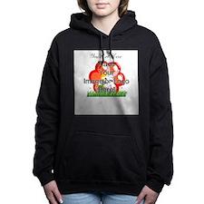 Single Line Overlay Women's Hooded Sweatshirt