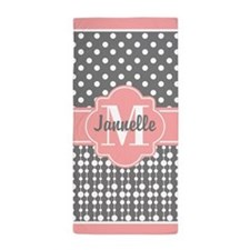 Coral and Gray Polka Dots Custom Monog Beach Towel