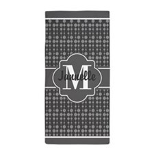 Gray Polka Dots Pattern with Monogram Beach Towel