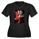 Lady / Pug Women's Plus Size V-Neck Dark T-Shirt