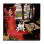 Lady / Pug Tile Coaster