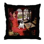 Lady / Pug Throw Pillow
