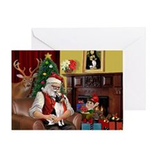 Santa & Toy Fox Terrier Greeting Card