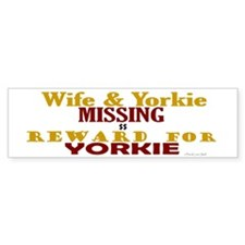 Wife & Yorkie Missing Bumper Car Sticker