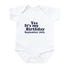 September 16th Birthday Infant Bodysuit