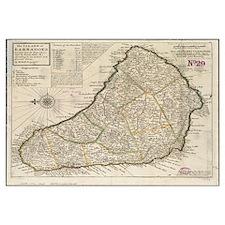 Vintage Map of Barbados (1736)