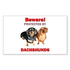 Beware Dachshunds Dogs Rectangle Sticker