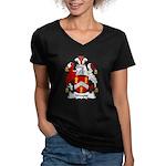Wayne Family Crest Women's V-Neck Dark T-Shirt