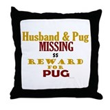 Husband & Pug Missing Throw Pillow