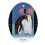 Emperor penguin illustration Oval Ornament