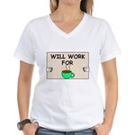 WILL WORK FOR COFFEE Women's V-Neck T-Shirt