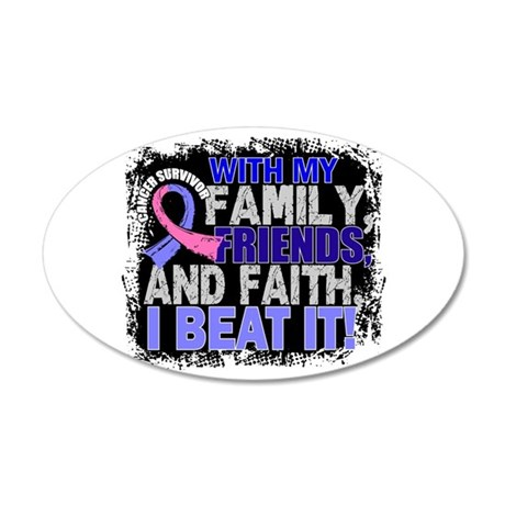 Male Breast Cancer Survivor 20x12 Oval Wall Decal