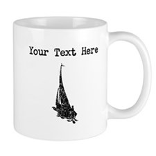 Distressed Sail Boat Silhouette (Custom) Mugs