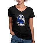 Vincent Family Crest Women's V-Neck Dark T-Shirt