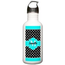 Aqua and Black Polka D Water Bottle