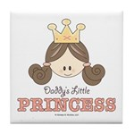 Daddy's Princess Pink Brown Tile Coaster