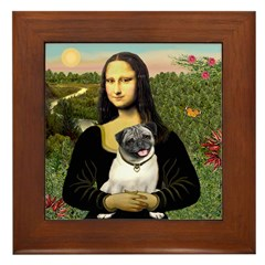 Mona's Fawn Pug Framed Tile