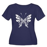 BUTTERFLY 5 Women's Plus Size Scoop Neck Dark T-Sh