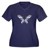 BUTTERFLY 8 Women's Plus Size V-Neck Dark T-Shirt