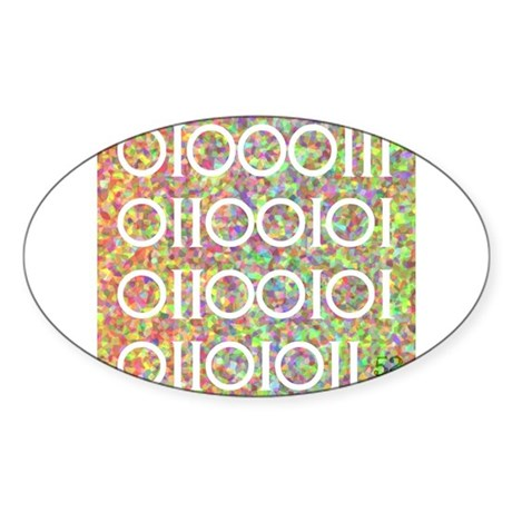 Geek in Binary Code Oval Sticker
