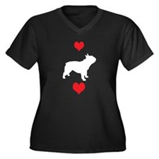 French Bulldog Red Hearts Women's Plus Size V-Neck