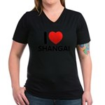 I Love Shangai Women's V-Neck Dark T-Shirt