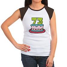 73 Year Old Birthday Cake Women's Cap Sleeve Tee