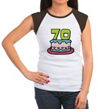 70 Year Old Birthday Cake Women's Cap Sleeve Tee