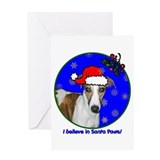 SANTA PAWS Whippet Greeting Card