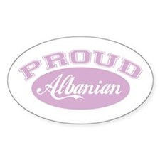 Proud Albanian (pink) Oval Decal