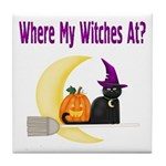 Witch on Broomstick Tile Coaster