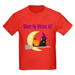 Witch on Broomstick Kids Dark T-Shirt