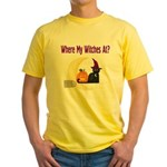 Witch on Broomstick Yellow T-Shirt