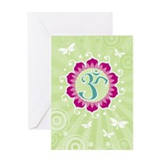 Lotus Aum Green - Blank Greeting Card