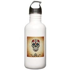 Sugar skull with Brown Water Bottle