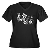 FLOWERS & BF 30 Women's Plus Size V-Neck Dark T-Sh