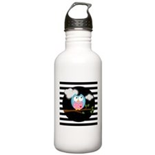 Pink Blue Owl Black Stripes Water Bottle