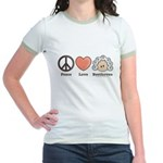 Peace Love Heart Beethoven Pink Jr. Ringer T-Shirt