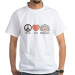 Peace Love Beethoven White T-Shirt