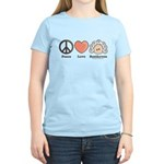 Peace Love Heart Beethoven Women's Yellow T-Shirt
