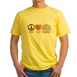 Peace Love Beethoven Yellow T-Shirt