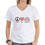 Peace Love Beethoven Women's V-Neck T-Shirt