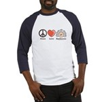Peace Love Beethoven Navy Blue Baseball Jersey