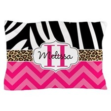 Zebra Cheetah & Hot Pink Chevron Pillow Case