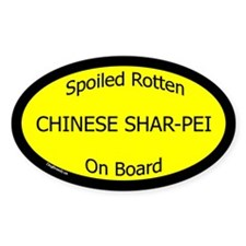 Spoiled Chinese Shar-Pei On Board Oval Decal