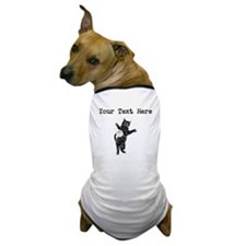 Distressed Cat And Yarn Silhouette (Custom) Dog T-