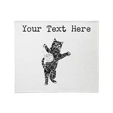 Distressed Cat And Yarn Silhouette (Custom) Throw