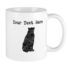 Distressed Bear Sitting Silhouette (Custom) Mugs