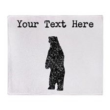 Distressed Standing Bear Silhouette (Custom) Throw