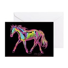 Painted Pony - black bkgrnd Greeting Cards (20))